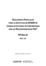 Reglamento Particular para la certificación