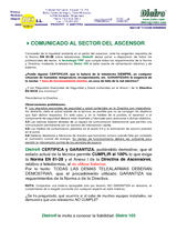 Comunicado sector del ascensor