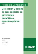 Colocación y sellado de gres antiácido en pavimentos sometidos a agresión química
